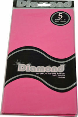 """New""TISSUE PAPER DIAMOND 500X750MM 17GSM PINK 5 SHTS(PK12)-Free Shipping"