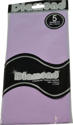"""New""TISSUE PAPER DIAMOND 500X750MM 17GSM LILAC 5 SHTS(PK12)-Free Shipping"