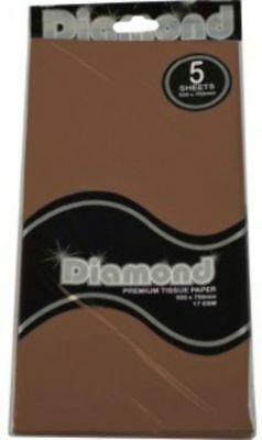 """New""TISSUE PAPER DIAMOND 500X750MM 17GSM CHOCOLATE BROWN 5 SHTS(PK12)-Free Ship"