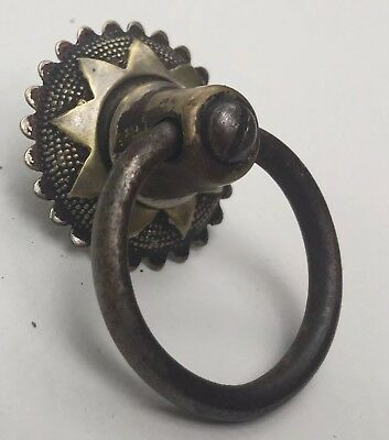 Brass & Iron 1875 Eastlake Victorian Antique Hardware Drawer Pull Knob Ring Knob
