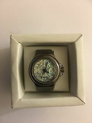 Shiny Black Finger Ring Watch With Stretch Band -New-(USA Vendor)