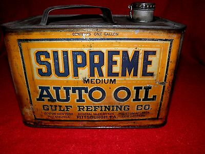 ANTIQUE 1920's SUPREME MEDIUM AUTO OIL GULF REFINING CO. CAN LID NICE VINTAGE!!