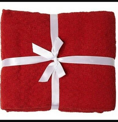 Jacquard Hand Woven Cotton Waffle  Throw Rug Blanket - Dark Red & FREE FREIGHT