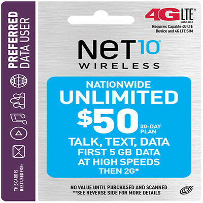 NET10 Wireless $50 Unlimited Monthly Plan Talk, Text, 5GB Data, Same Day Refill!