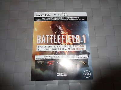 PS4 Battlefield 1 Early Enlister Deluxe Pack Game Add On DLC Download Code