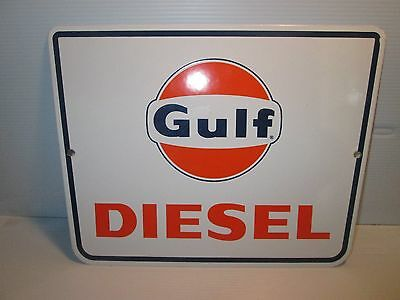 Gulf Oil Porcelain Gas Pump Sign Vintage