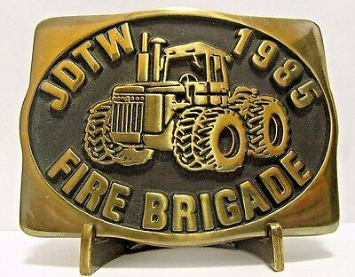 1985 John Deere Tractor Works Waterloo FIRE BRIGADE Employee Belt Buckle 1 of 25