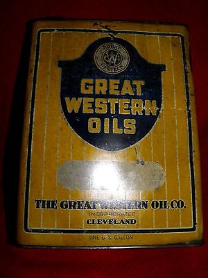 Vintage The Great Western Oil Co. Oil Can 1 Gal. Ultra Rare!! Nice Antique Gas
