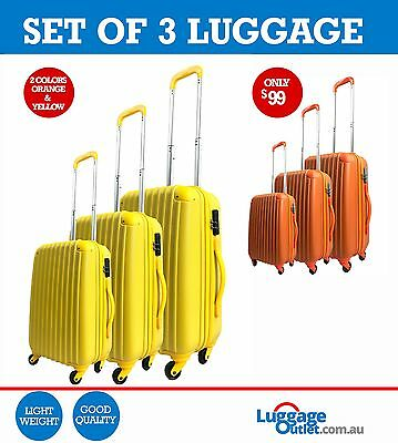 Hardcase Set of 3 Travel Luggage 4 wheels 7 color options