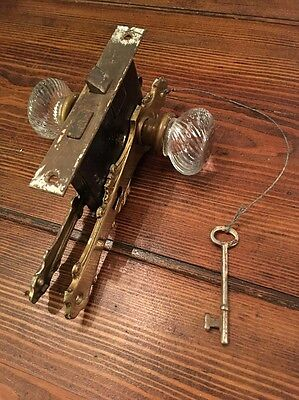 Antique Door Hardware Brass Back Plates skeleton key Glass Knobs Great!!!
