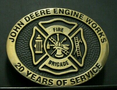 1995 John Deere Engine Works FIRE BRIGADE Belt Buckle 20 Year Employee 45 of 100