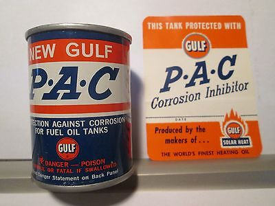 Mint Nos Metal Can Gulf Oil Pac  Reverse Logo & Decal Sticker