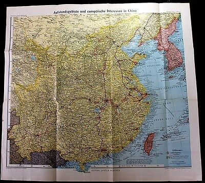 1912  ORGINAL MAP OF EUROPEAN INTERESTS IN CHINA-Chinese History,Boxer Rebellion