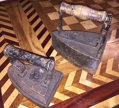 2 Antique Sad Irons One With Unique Door And Iron Insert Other With Iron Handle