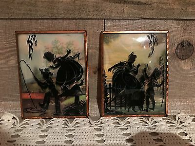 Vintage Bubble Glass Reverse Painted Silhouettes Mother and Son Fishing Dog Set
