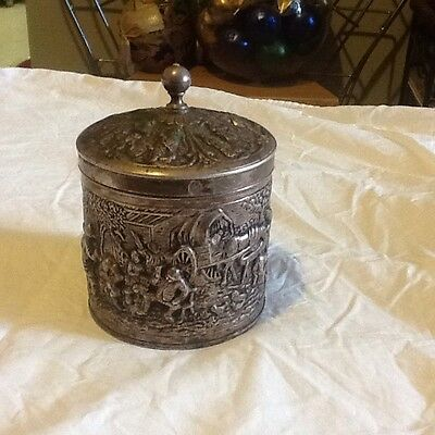 antique silver container