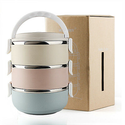3 Tier Stainless Steel Thermal Insulated Stackable Lunch Box Bento Food Contain