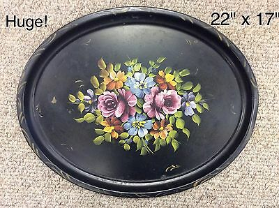 LARGE 22x17 OVAL TOLE HAND PAINTED METAL TRAY, black gold Vintage/antique huge