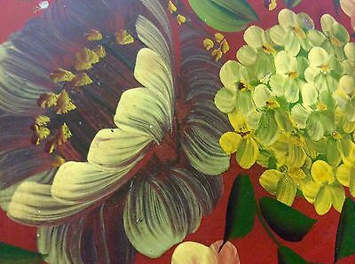 Vintage RED TOLE PAINTED TRAY Scalloped edge Rolled Handles Floral Hydrangea OLD