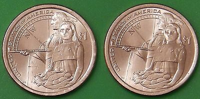 2014 US (P and D Marks) Sacagawea Dollars Graded as Brilliant Uncirculated