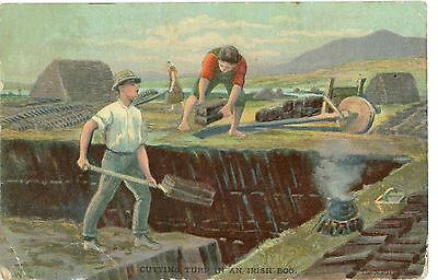 POSTCARD-IRLAND CUTTING PEAT-PP,POSTED1906-em98