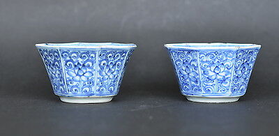 Pair Of Chinese Kangxi Period Blue And White Porcelain Cup Lotus Flowers Qing