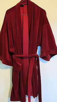 GIVONI Vintage Dressing Gown Bed Lounge Robe SIZE XL Maroon UNISEX Velour finish