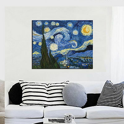 Starry Night by Vincent Van Gogh Oil Painting Reproduction on Canvas Wall