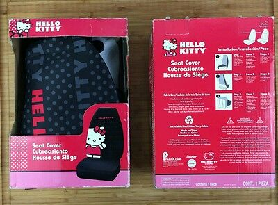 NEW Pair X2 PLASTICOLOR 006915R01 HELLO KITTY SEAT COVER, BLK (RW33C-008) 2 piec