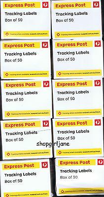 500 (10 boxes of 50) x Australia Post Express Post tracking labels + declaration