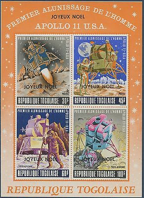 1970 TOGO Bloc N°41** L'homme sur la lune surch. noël, Space, christmas sheet NH