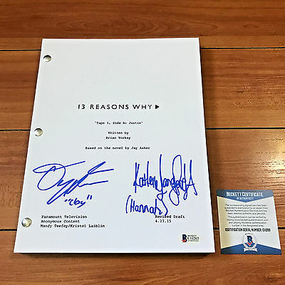 Dylan Minnette & Katherine Langford Signed 13 Reasons Why Pilot Script Bas Coa