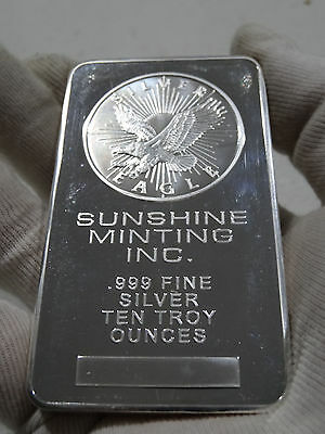 10 oz Silver Bullion Bar .999 Fine - Sunshine Minting Inc.