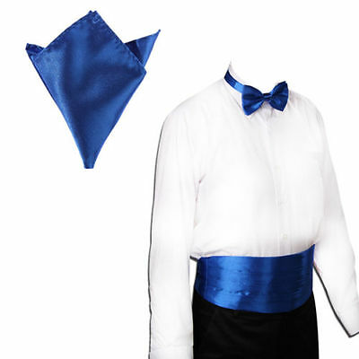 Fashion Men Gentleman Italian Satin Cummerbund and Bow Tie and Hanky Wedding Set