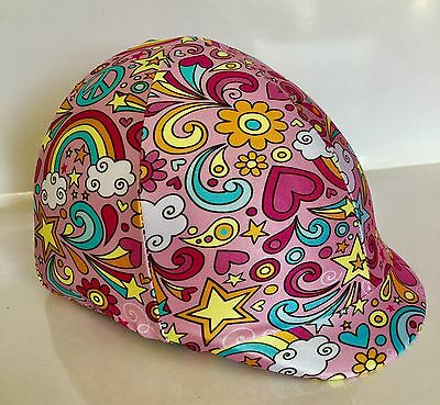 Horse Helmet Cover Pink Love & Rainbows Lycra AUSTRALIAN  MADE
