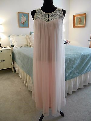 Vintage 50s  Komar Double Layer Chiffon and Lace Pink nightgown S
