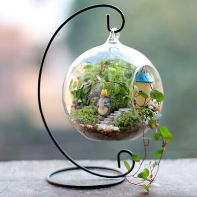 Hanging 12cm Glass Ball Vase Flower Pot Terrarium Container Decor With Stand