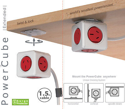 Allocacoc Powercube Extended RED with 1.5M Cable 5 Outlet