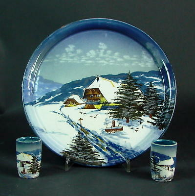 Tablett & Stamperl  - Schramberg Winterlandschaft  Blau