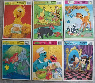 Lot of 6 Golden Frame Tray Puzzles Vintage DISNEY/SESAME STREET/Winnie the POOH