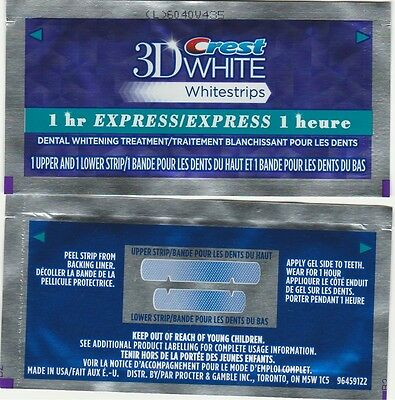 CREST 3D White Whitestrip 1 Hour Express Dental Whitening Treatment 1 pouch