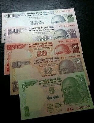 india set of 5 notes 5,10,20,50 and 100 rupees low serial number  000099