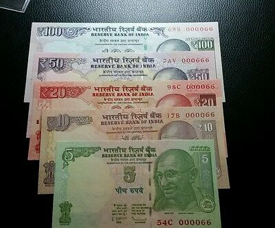 india set of 5 notes 5,10,20,50 and 100 rupees low serial number  000066