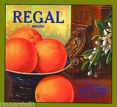 Richgrove Tulare County Regal Orange Citrus Fruit Vintage Crate Label Print