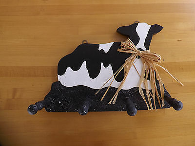 Cow Wall Hanger 4 Wood Pegs Country Decor Black & White