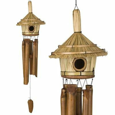 Bamboo Wind Chime with Bird House Woodstock HAND CRAFTED Asli Arts Thatched Roof