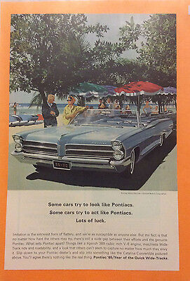 1965 Pontiac Catalina Convertible Car Ad Blue Original Vintage
