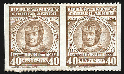 Paraguay 1954 Aviation Pettirossi Type Sc C201 Imperf In-between Error , Mint