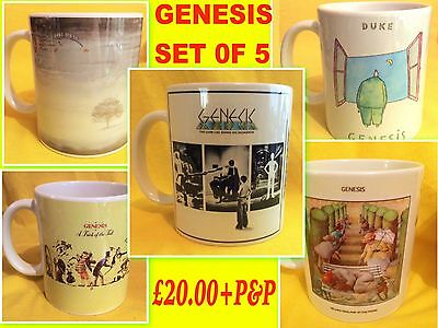 Genesis-A Set Of Five Classic Album Covers-On  Mugs-A Snip £20.00+P&p