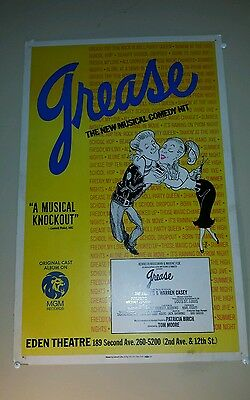Grease Window Card Eden Theater Broadway play Original Used